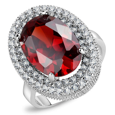 3W1455 - Rhodium Brass Ring with AAA Grade CZ  in Garnet