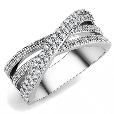 3W1464 - Rhodium Brass Ring with AAA Grade CZ  in Clear
