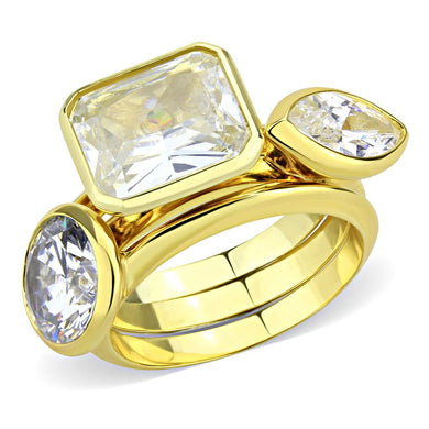 3W1482 - Gold Brass Ring with AAA Grade CZ  in Clear
