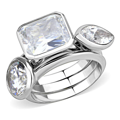 3W1486 - Rhodium Brass Ring with AAA Grade CZ  in Clear