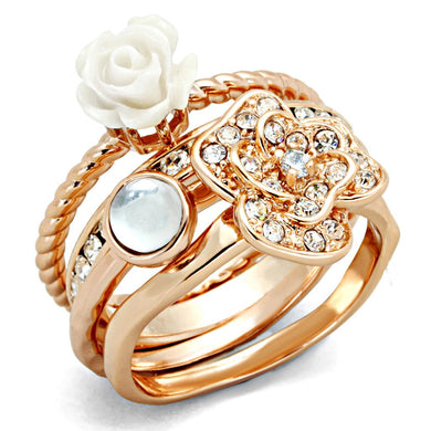 3W1490 - Rose Gold Brass Ring with Synthetic Synthetic Stone in White