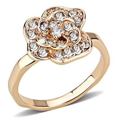 3W1491 - Rose Gold Brass Ring with Top Grade Crystal  in Clear