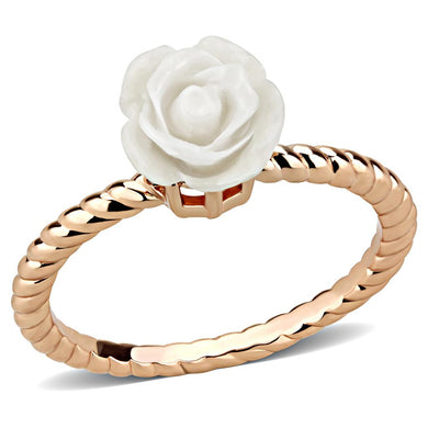 3W1492 - Rose Gold Brass Ring with Synthetic Synthetic Stone in White