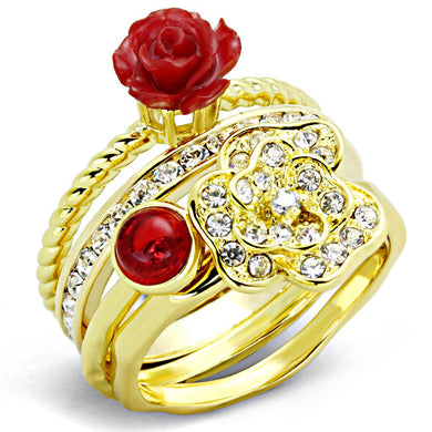 3W1495 - Gold Brass Ring with Synthetic Synthetic Stone in Siam