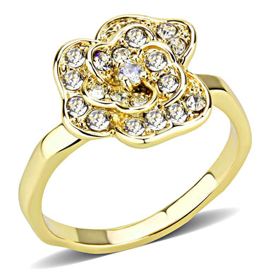 3W1497 - Gold Brass Ring with Top Grade Crystal  in Clear