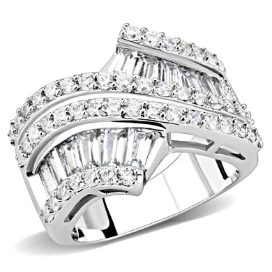 3W1501 - Rhodium Brass Ring with AAA Grade CZ  in Clear