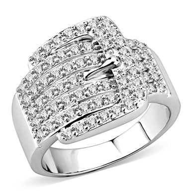 3W1502 - Rhodium Brass Ring with AAA Grade CZ  in Clear