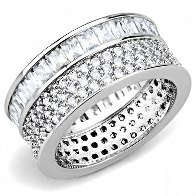 3W1520 - Rhodium Stainless Steel Ring with AAA Grade CZ  in Clear