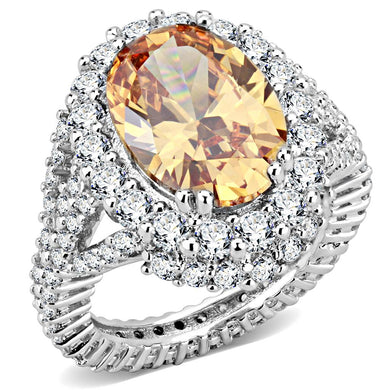 3W1523 - Rhodium Brass Ring with AAA Grade CZ  in Champagne