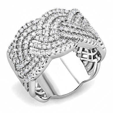 3W1524 - Rhodium Brass Ring with AAA Grade CZ  in Clear