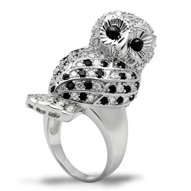 3W155 - Rhodium Brass Ring with AAA Grade CZ  in Jet