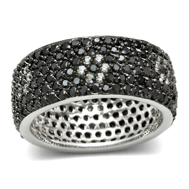 3W158 - Rhodium + Ruthenium Brass Ring with AAA Grade CZ  in Jet