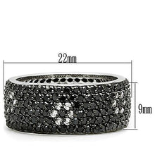 Load image into Gallery viewer, 3W158 - Rhodium + Ruthenium Brass Ring with AAA Grade CZ  in Jet