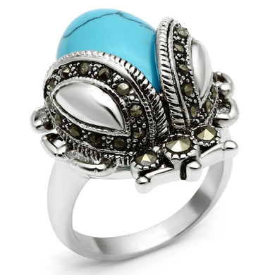 3W181 - Rhodium Brass Ring with Synthetic Turquoise in Sea Blue