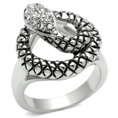 3W183 - Rhodium Brass Ring with Top Grade Crystal  in Clear