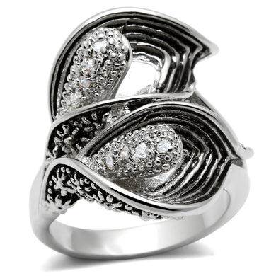 3W185 - Rhodium Brass Ring with AAA Grade CZ  in Clear