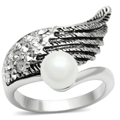 3W191 - Rhodium Brass Ring with Synthetic Pearl in White