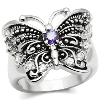 3W204 - Rhodium Brass Ring with AAA Grade CZ  in Amethyst