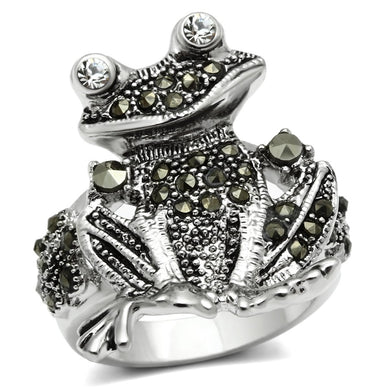 3W205 - Rhodium Brass Ring with Top Grade Crystal  in Clear