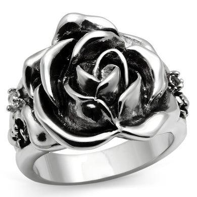 3W210 - Rhodium Brass Ring with AAA Grade CZ  in Clear