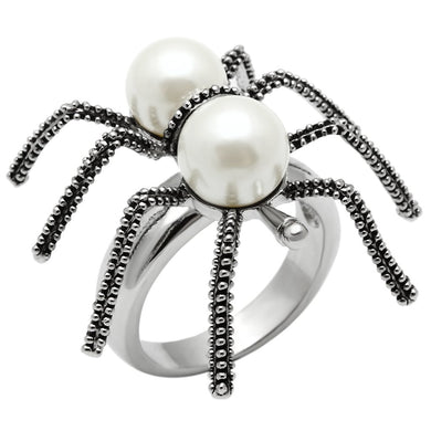 3W226 - Rhodium Brass Ring with Synthetic Pearl in White