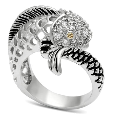 3W234 - Rhodium Brass Ring with AAA Grade CZ  in Champagne