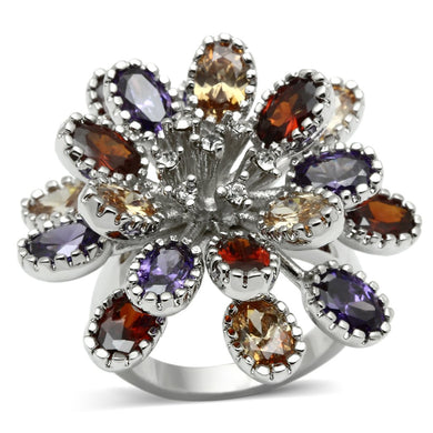 3W251 - Rhodium Brass Ring with AAA Grade CZ  in Multi Color
