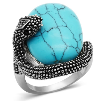 3W255 - Rhodium Brass Ring with Synthetic Turquoise in Sea Blue