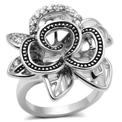 3W261 - Rhodium Brass Ring with AAA Grade CZ  in Clear