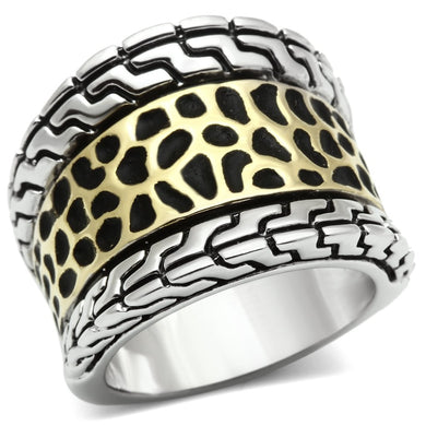 3W296 - Reverse Two-Tone Brass Ring with No Stone
