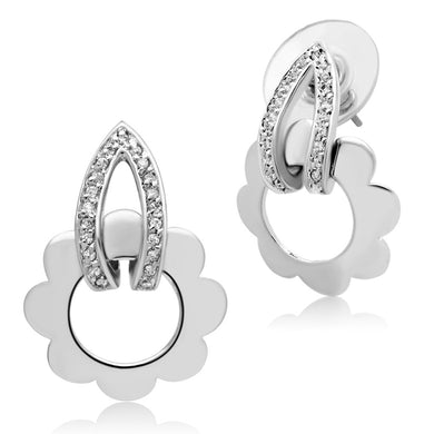 3W302 - Rhodium Brass Earrings with AAA Grade CZ  in Clear