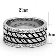 Load image into Gallery viewer, 3W306 - Rhodium Brass Ring with AAA Grade CZ  in Clear