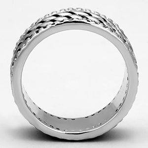 3W306 - Rhodium Brass Ring with AAA Grade CZ  in Clear
