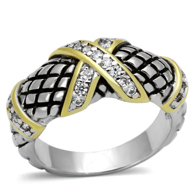 3W314 - Reverse Two-Tone Brass Ring with AAA Grade CZ  in Clear
