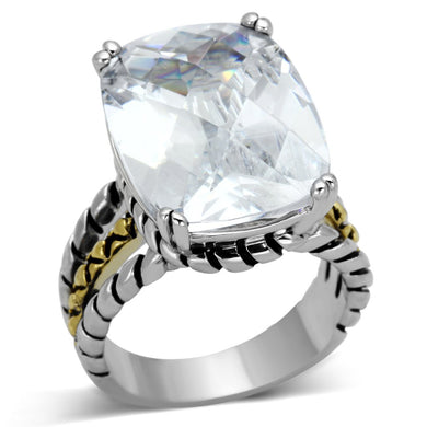 3w316 - Reverse Two-Tone Brass Ring with AAA Grade CZ  in Clear