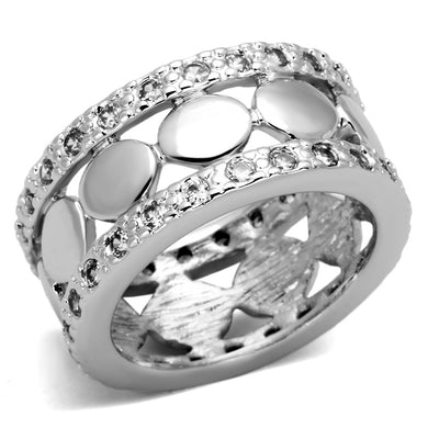 3w319 - Rhodium Brass Ring with AAA Grade CZ  in Clear