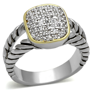 3W322 - Reverse Two-Tone Brass Ring with AAA Grade CZ  in Clear