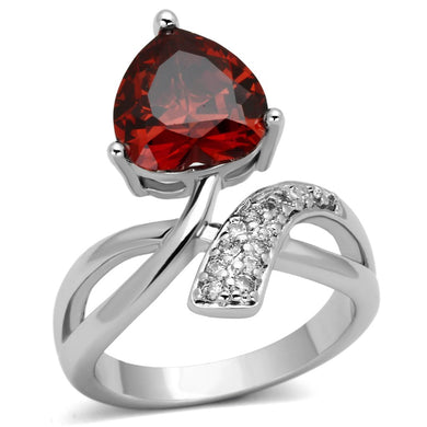 3W323 - Rhodium Brass Ring with AAA Grade CZ  in Garnet