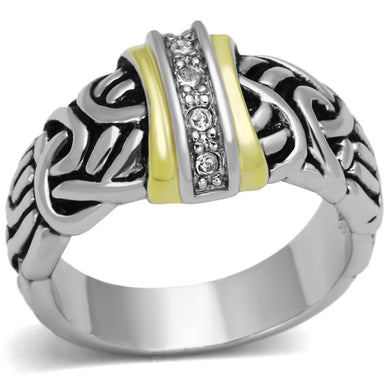 3W327 - Reverse Two-Tone Brass Ring with Top Grade Crystal  in Clear
