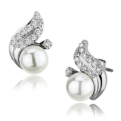 3W365 - Rhodium Brass Earrings with Synthetic Pearl in White