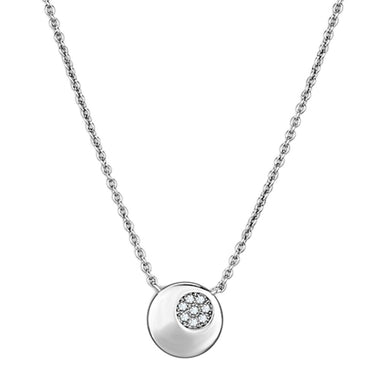 3W431 Rhodium Brass Necklace with AAA Grade CZ in Clear