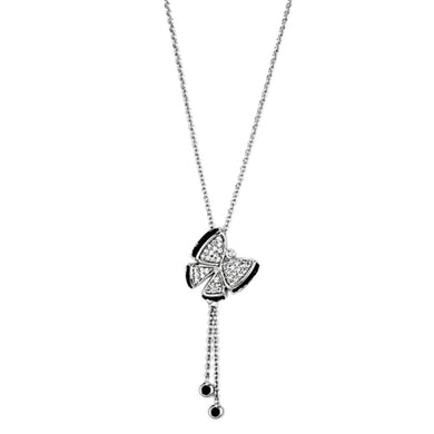 3W441 - Rhodium + Ruthenium Brass Necklace with AAA Grade CZ  in Black Diamond