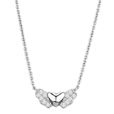 3W451 - Rhodium Brass Necklace with AAA Grade CZ  in Clear