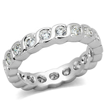 Load image into Gallery viewer, 3W462 - Rhodium Brass Ring with AAA Grade CZ  in Clear