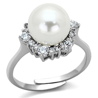 3W477 - Rhodium Brass Ring with Synthetic Pearl in White