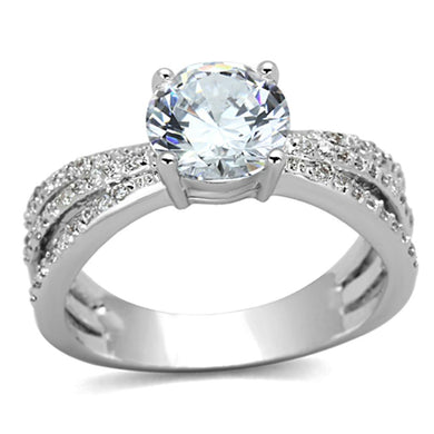 3W478 - Rhodium Brass Ring with AAA Grade CZ  in Clear