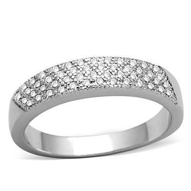 3W482 - Rhodium Brass Ring with AAA Grade CZ  in Clear
