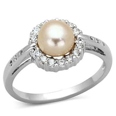 3W487 - Rhodium Brass Ring with Synthetic Pearl in White