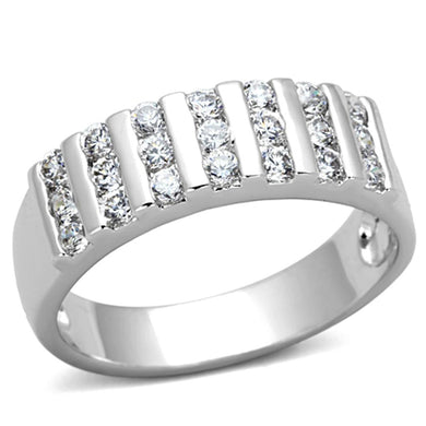 3W488 - Rhodium Brass Ring with AAA Grade CZ  in Clear
