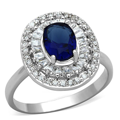 3W495 - Rhodium Brass Ring with Synthetic Synthetic Glass in Sapphire